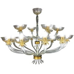 Art Deco Chandelier by Barovier & Toso, Venice, 1940s