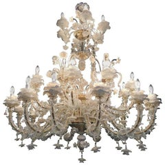 Sumptuous Murano Chandelier Glass Gold Inclusions, 1980s