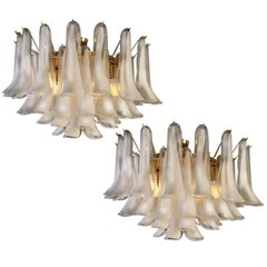 Pair of White Petals Murano Glass Chandeliers