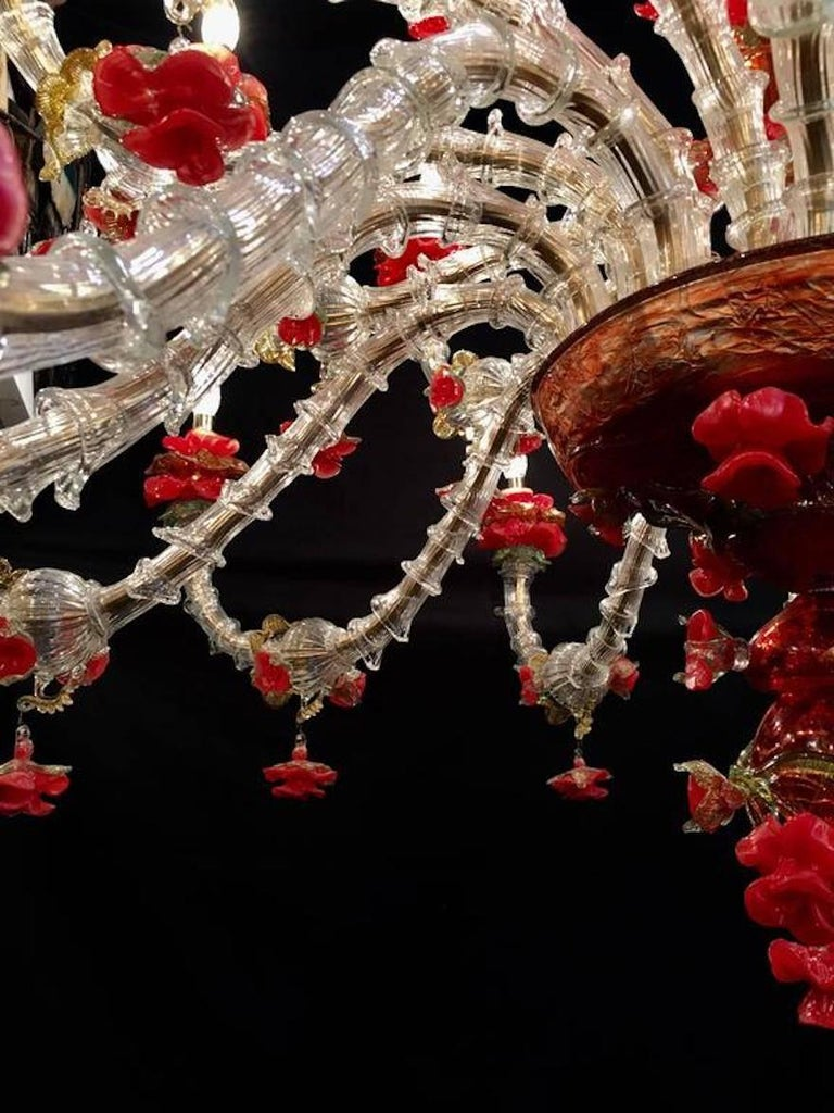 20th Century Sumptuous Italian Chandelier Red and Gold, Murano, 1980s For Sale