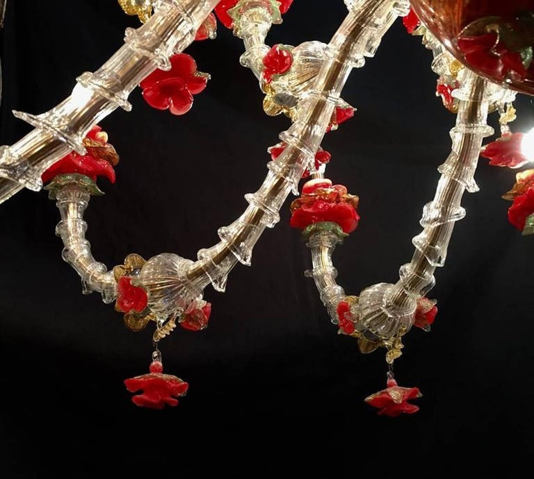 Murano Glass Sumptuous Italian Chandelier Red and Gold, Murano, 1980s For Sale