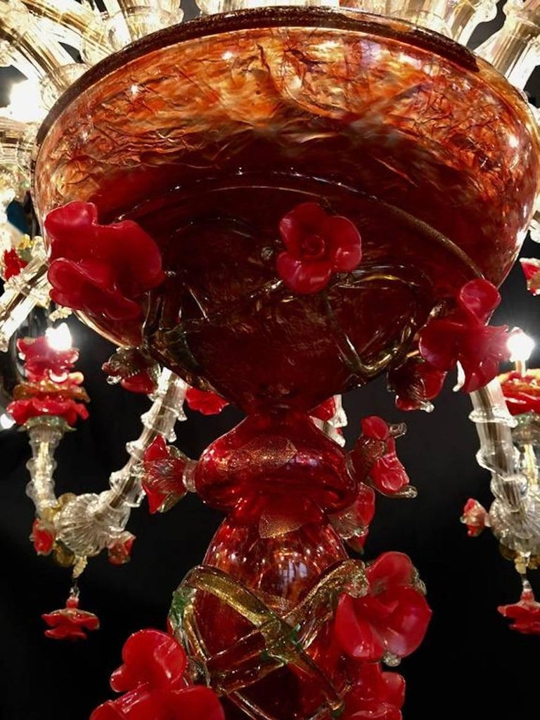 Sumptuous Italian Chandelier Red and Gold, Murano, 1980s For Sale 1
