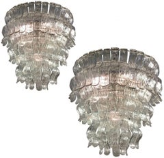 Spectacular Pair of Chandeliers by Barovier & Toso, Murano, 1970s