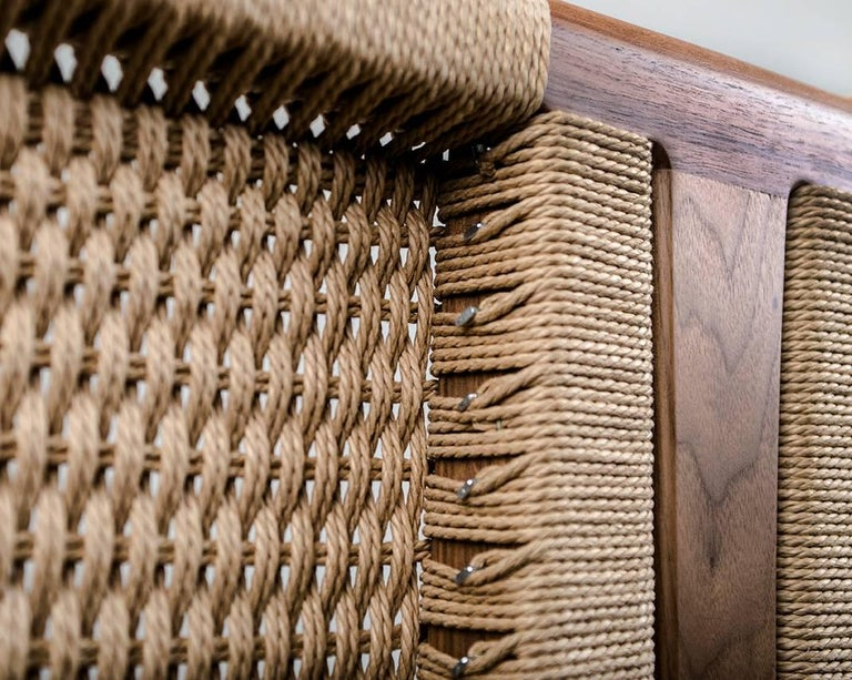 Bed, Queen, Danish Cord, Woven Headboard, Mid-Century Modern Style, Hardwood For Sale 2