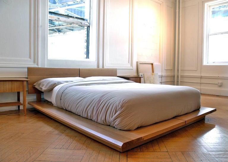 American Mid-Century Modern Platform Hardwood Rift Loft Bed, Queen For Sale