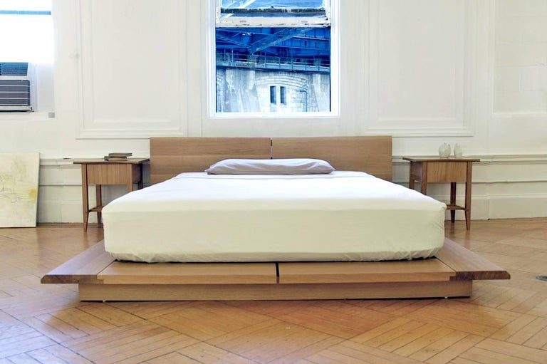 Hand-Crafted Platform, Rift Queen Bed, Mid-Century Modern, Hardwood, Custom, Semigood For Sale