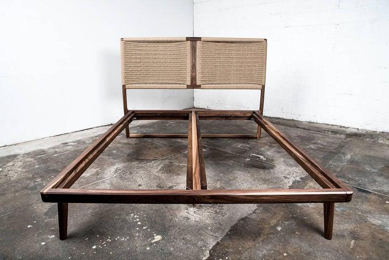 American Bed, King, Danish Cord, Woven Headboard, Mid Century Modern-Style, Hardwood,  For Sale