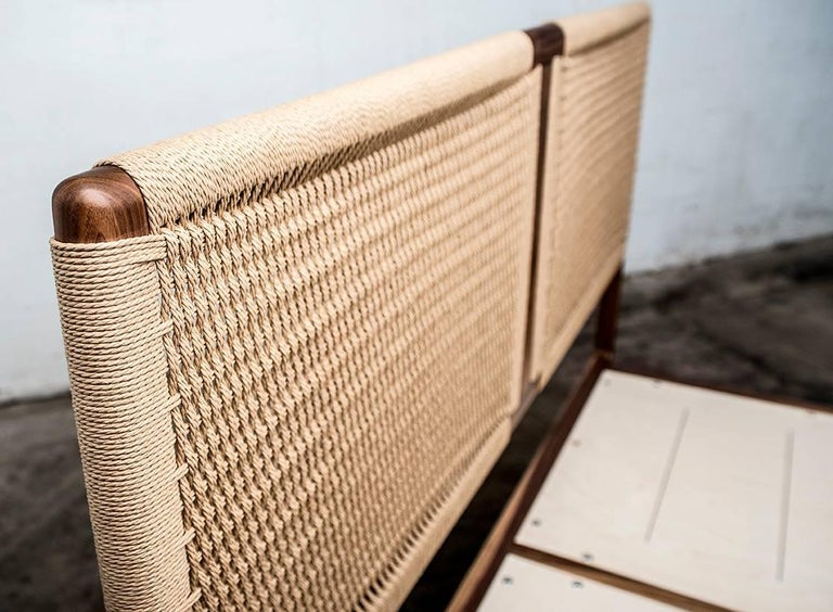 Hand-Crafted Bed, King, Woven Headboard, Mid Century Modern-Style, Hardwood, Semigood For Sale