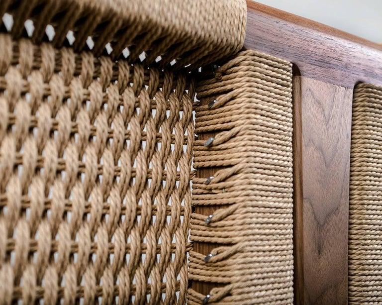 Bed, King, Danish Cord, Woven Headboard, Mid Century Modern-Style, Hardwood,  For Sale 1