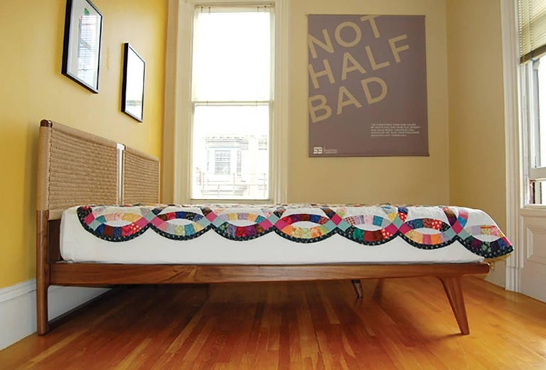 Bed, King, Woven Headboard, Mid Century Modern-Style, Hardwood, Semigood For Sale 1