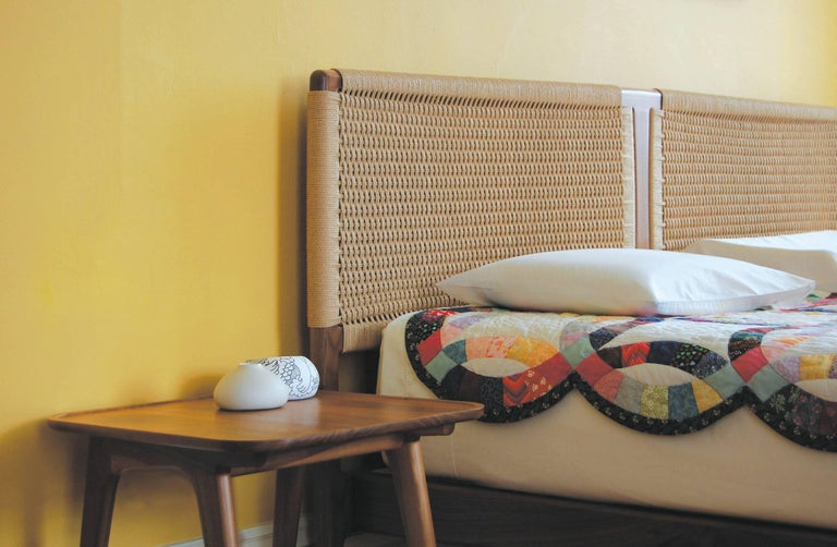 Bed, King, Danish Cord, Woven Headboard, Mid Century Modern-Style, Hardwood,  For Sale 3