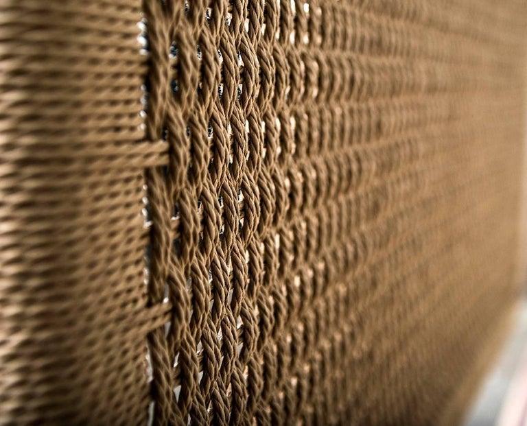 Bed, King, Danish Cord, Woven Headboard, Mid Century Modern-Style, Hardwood,  For Sale 4