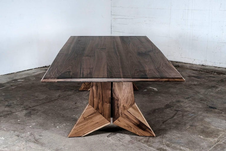 Table, Dining, Custom, Hardwood, Steel, Modern, Semigood In New Condition For Sale In Issaquah, WA