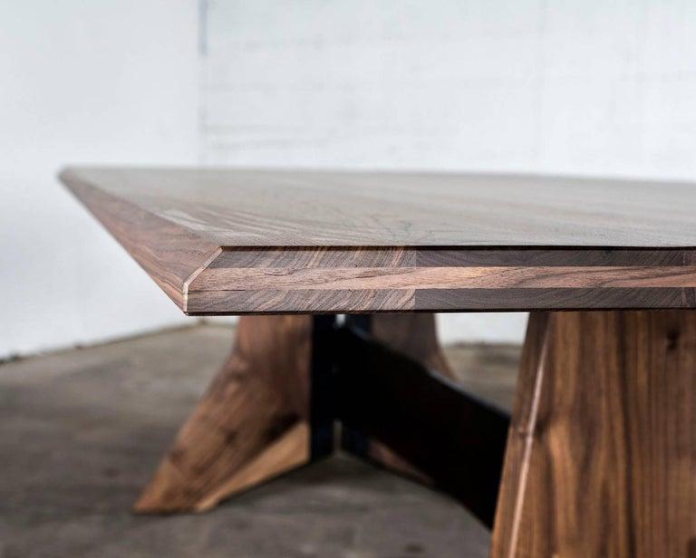 Contemporary Table, Dining, Custom, Hardwood, Steel, Modern, Semigood For Sale