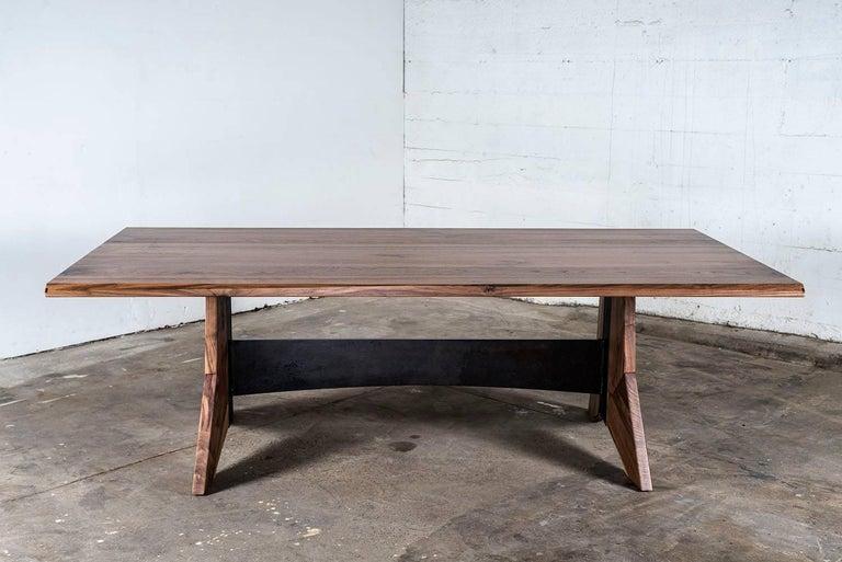 Blackened Table, Dining, Custom, Hardwood, Steel, Modern, Semigood For Sale