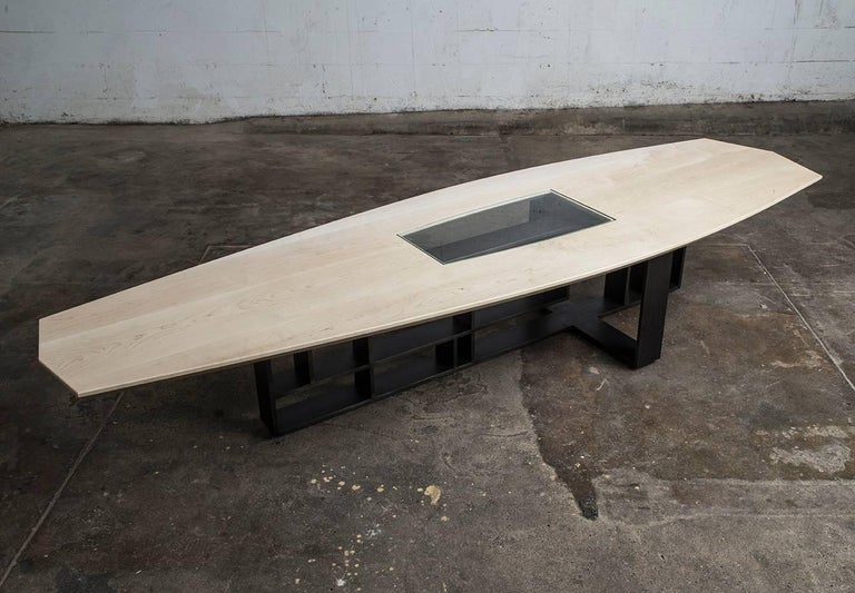 Modern Hardwood, Blackened Steel and Glass Coffee Table with Brand Customization For Sale