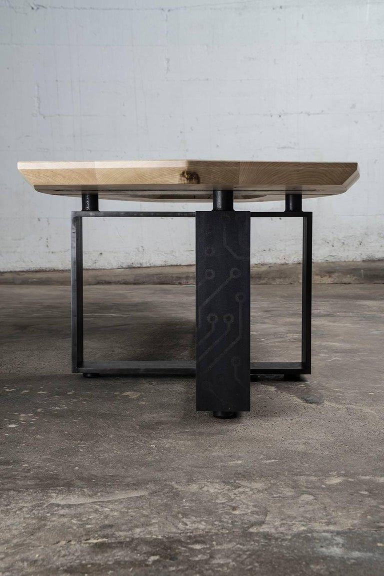 Contemporary Hardwood, Blackened Steel and Glass Coffee Table with Brand Customization For Sale