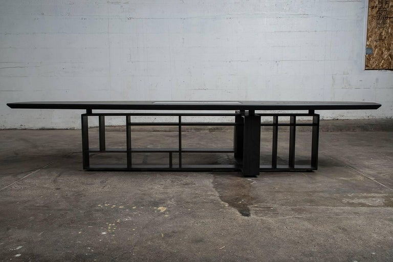 Hardwood, Blackened Steel and Glass Coffee Table with Brand Customization For Sale 2