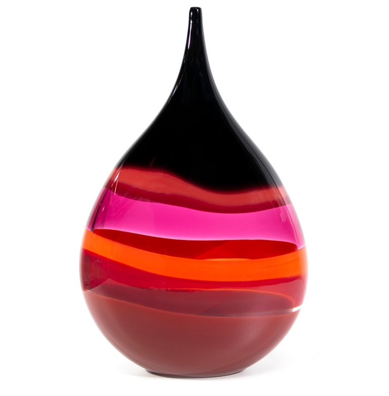 Handblown Glass Vase Red Banded Teardrop By Siemon And Salazar For
