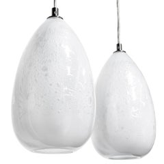 Pair of Modern Glass Lights, Alabaster Cone Pendants, Handblown lighting