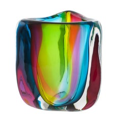 Modern Glass Vase, Hand Blown Chroma Low Triangle by Siemon & Salazar