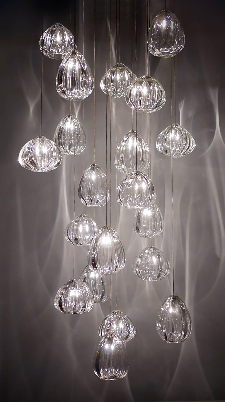 Blown Glass Clear Barnacle and Urchin Chandelier, Handblown Glass by Siemon & Salazar For Sale