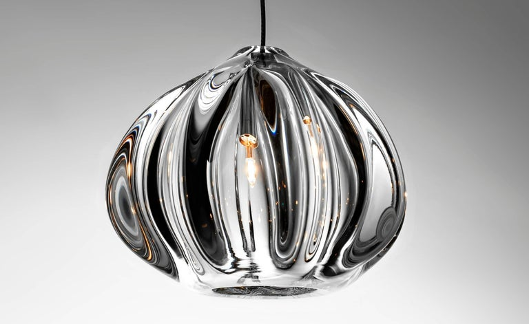 Clear Barnacle and Urchin Chandelier, Handblown Glass by Siemon & Salazar In Excellent Condition For Sale In Santa Ana, CA