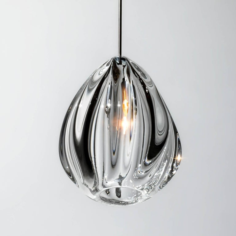 Mid-Century Modern Clear Barnacle and Urchin Chandelier, Handblown Glass by Siemon & Salazar For Sale