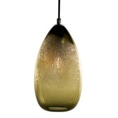 Bronze Cone Bubble Pendant, Handblown Glass