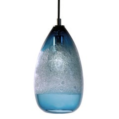 Steel Blue Cone Bubble Pendant, Handblown Glass