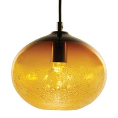 Artisan Blown Glass Shade • Amber Ellipse Bubble Pendant