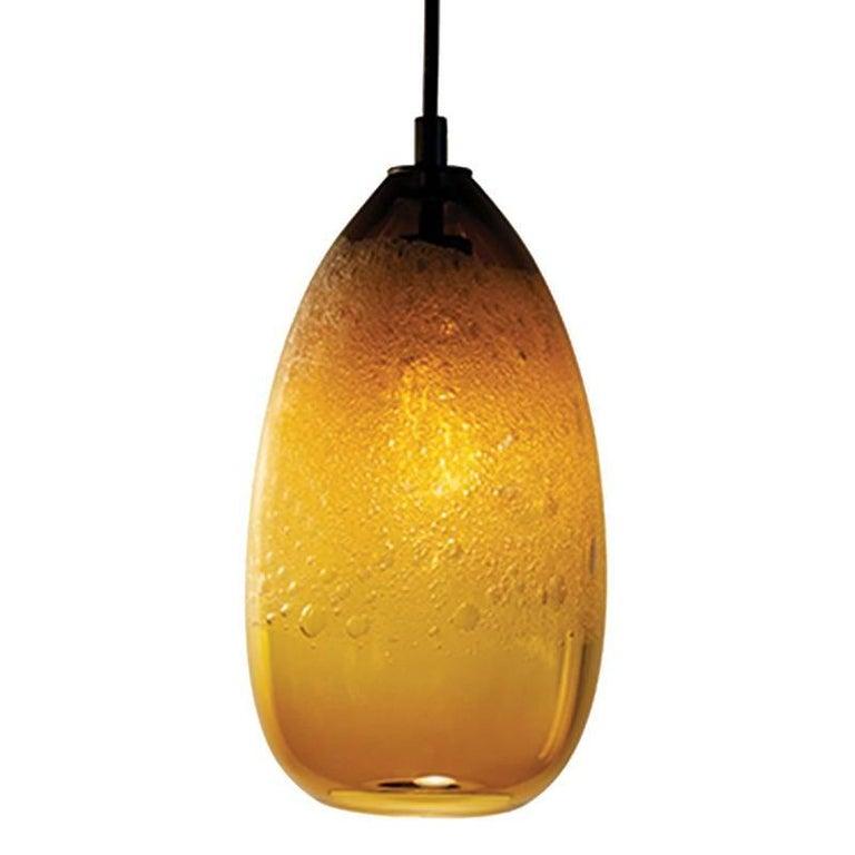 Amber Cone Bubble Pendant, Handblown Glass
