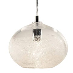 Artisan Blown Glass Shade • Clear Ellipse Bubble Pendant