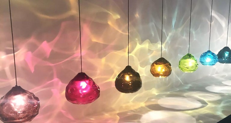 Glass Pendant Light, Clear Happy Pendant, Hand Blown Glass For Sale 1