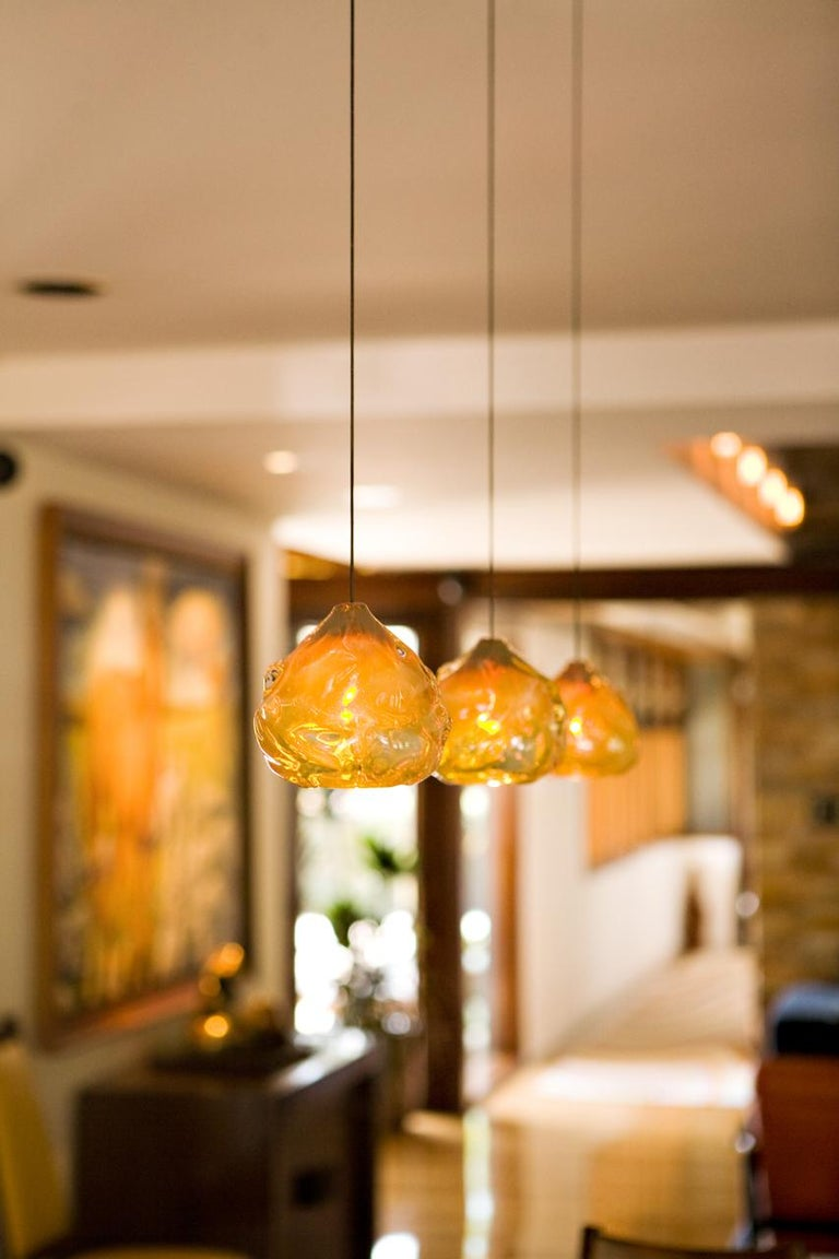 Glass Pendant Light, Clear Happy Pendant, Hand Blown Glass For Sale 2