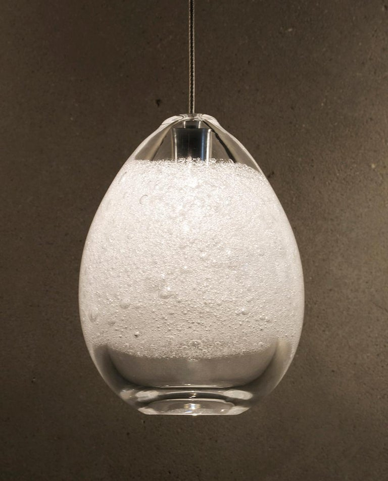 Artisan Blown Glass Shade Clear Bubble Orb Pendant Light Made In Usa For Sale At 1stdibs
