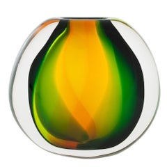 Art Glass Vase, Paradise Flat Round by Siemon & Salazar - Made to Order