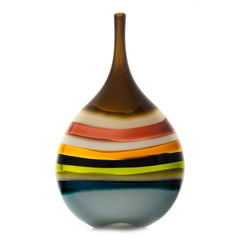 Modern Blown Glass Vase, 10 Banded Multi-Color Flat Teardrop by Siemon & Salazar