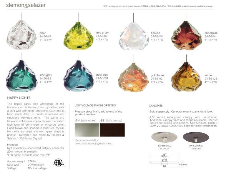 Blue Glass Pendant, Steel Blue Happy Pendant For Sale 6