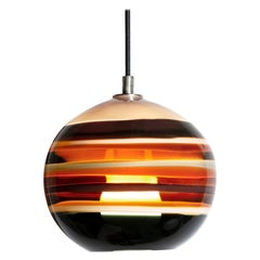 Modern Colorful Lighting, Amber Banded Orb, Hand Blown Glass