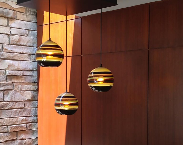 Modern colorful lighting, amber banded orb • Hand blown glass made to order by Siemon & Salazar Measures: 9