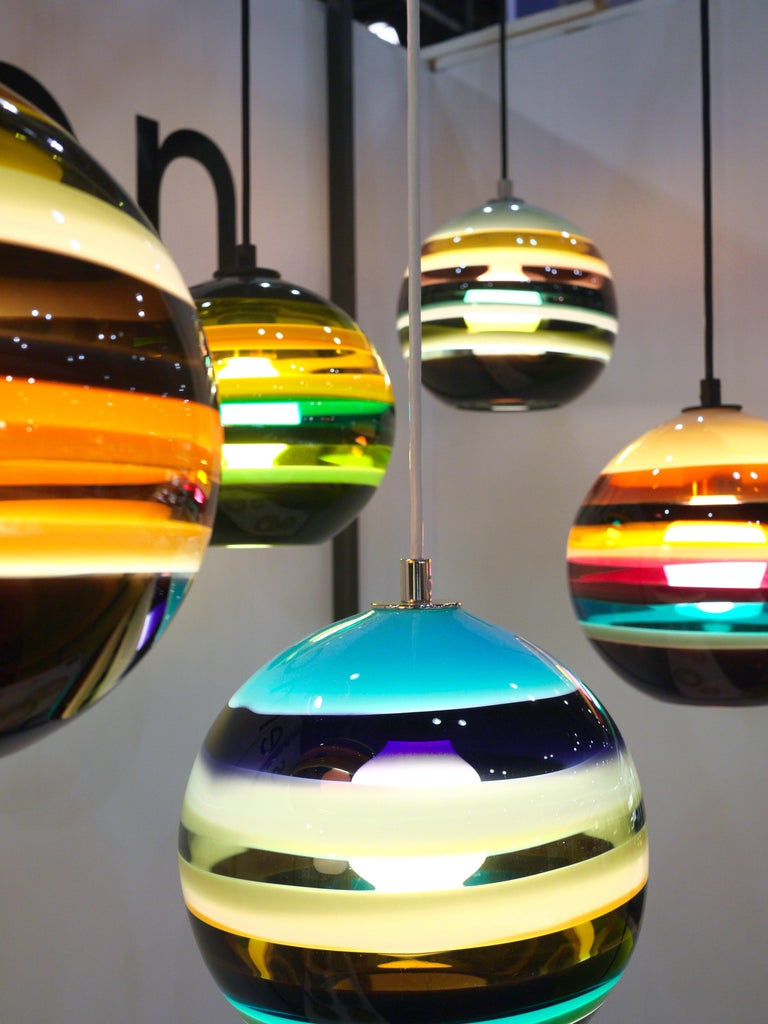 Modern Colorful Lighting, Amber Banded Orb, Hand Blown Glass In New Condition For Sale In Santa Ana, CA