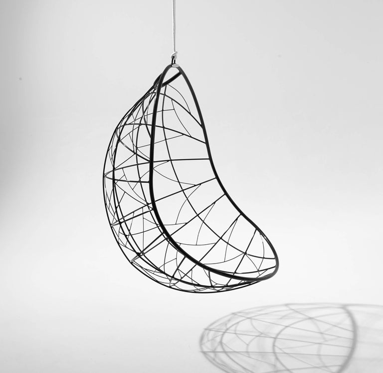 The Nest Egg hanging swing chair is inspired from the organic forms in bird nests and has a natural egg shape. The pattern detail is reminiscent of tree branches that intersect, grasses that are intertwined, the veins in dragonfly wings, veins in