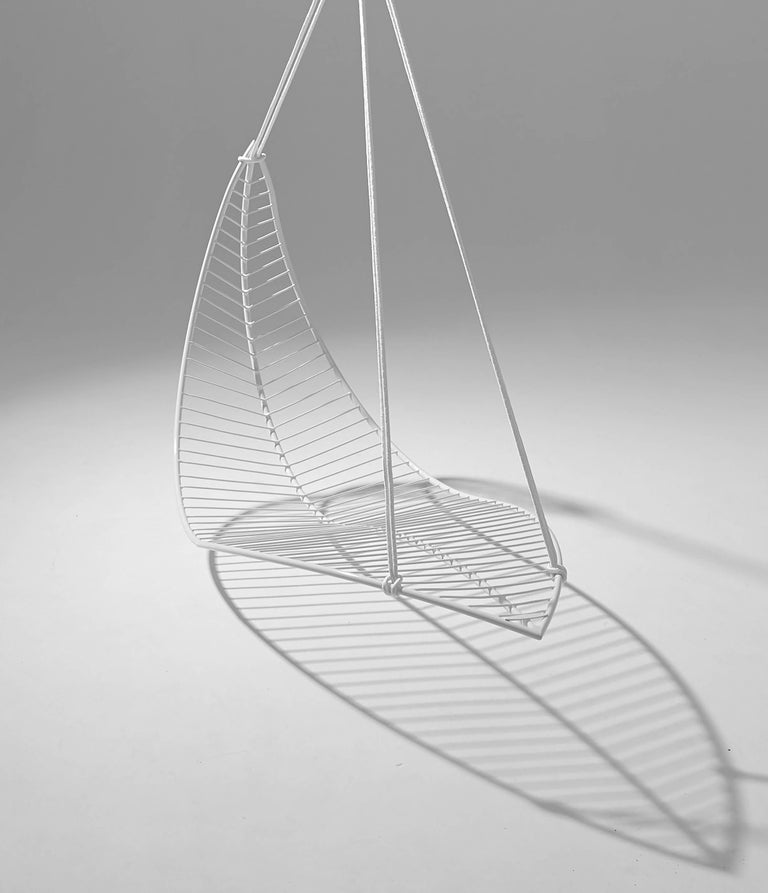 Organic Modern Leaf Hanging Swing Chair For Sale