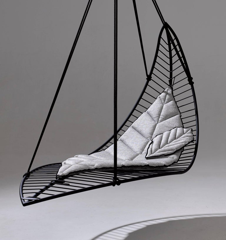 Leaf Hanging Swing Chair Modern Steel In Outdoor 21st Century Black For Sale At 1stdibs