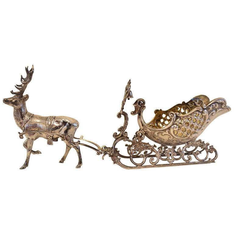 20th Century Silver Sleigh and Reindeer with Gilt Detail, Objet D'art, Sculpture