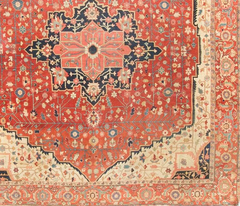 Hand-Knotted Square Antique Persian Heriz Serapi, circa 1890 For Sale