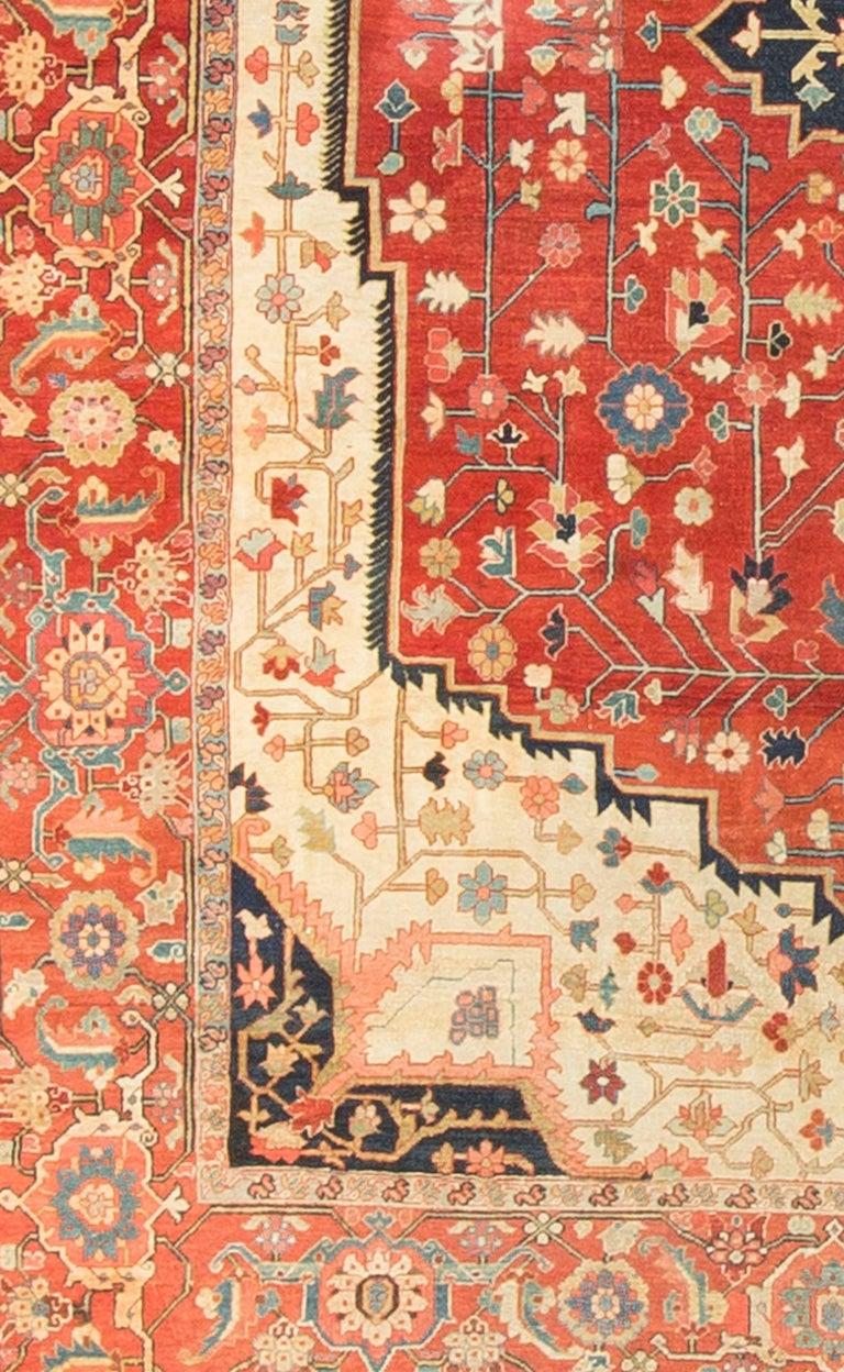 Square Antique Persian Heriz Serapi, circa 1890 In Excellent Condition For Sale In Secaucus, NJ
