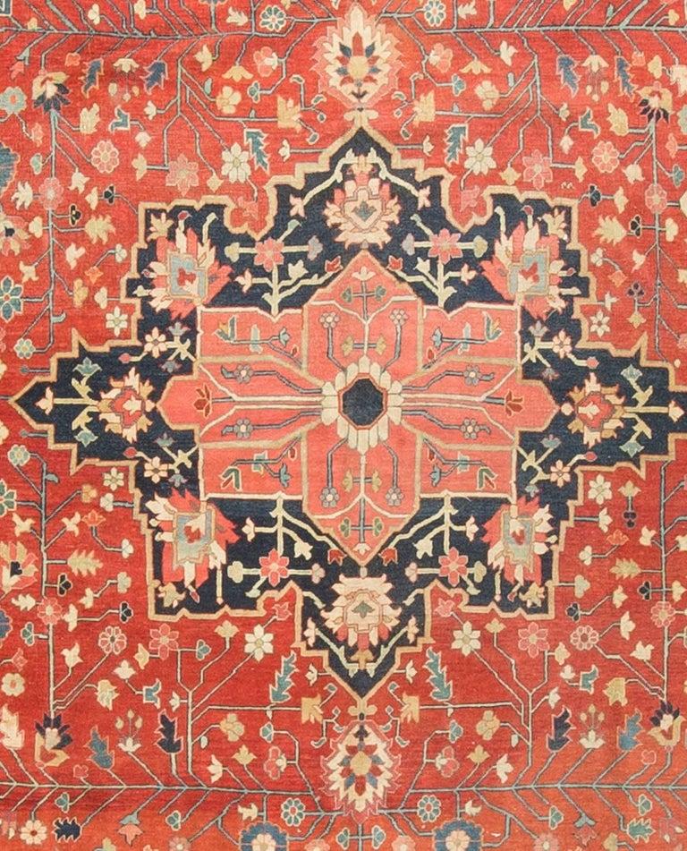 19th Century Square Antique Persian Heriz Serapi, circa 1890 For Sale
