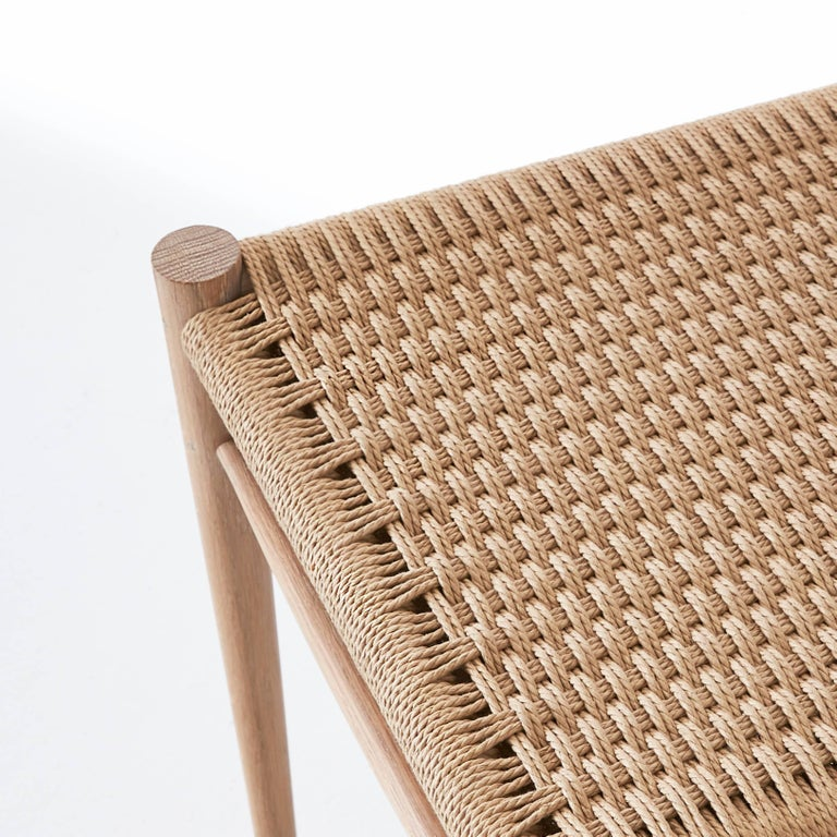 Contemporary Handcrafted White Oak Wood Madison Chair with Handwoven Danish Cord Design For Sale